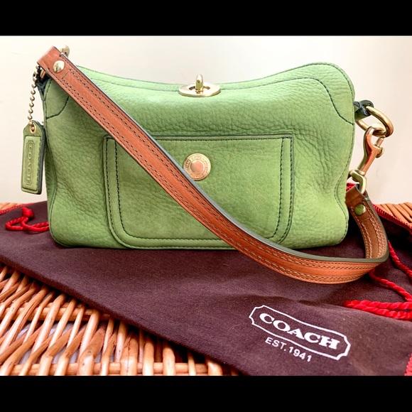 COACH Handbags - COACH-ALMOST NEW Pebbled Green Leather Mini Purse